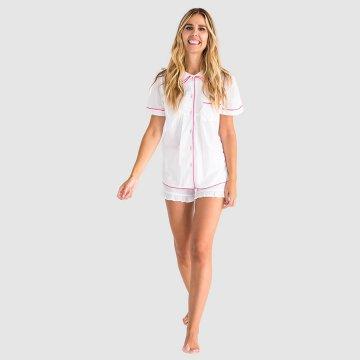 Sant + Abel Women's White French Cambric Cotton Short Sleeve Shorts Pajama Set