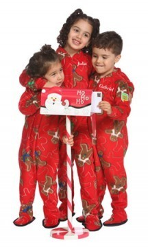 Snug As A Bug Red Gingerbread Kids Fleece Footy