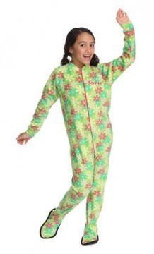 "Snug As A Bug ""Green Garden"" Kids Fleece Footy"