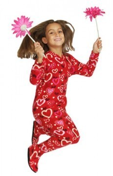 "Snug As A Bug ""Red Hearts"" Kids Fleece Footy"