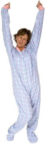 Big Feet Pajamas Adult Pink and Blue Plaid One Piece Footy