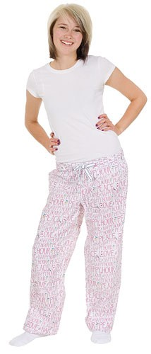Be As You Are Peace Love & Happy Hour Women's White Sleep Pant