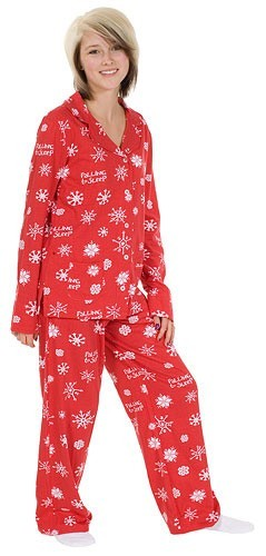 Little Blue House by Hatley Falling to Sleep Snowflakes Women's Pajama Set in Red