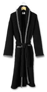Kashwere Super Soft Shawl Collared Robe in Black with Slate Trim