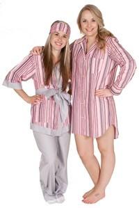 "Daisy Alexander ""Bloom Stripe"" Classic Cotton Nightshirt in Pink"