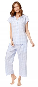 The Cat's Pajamas Women's Blue Gingham Luxe Pima Cotton Capri Pajama Set