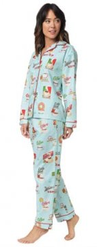 The Cat's Pajamas Women's Cafe Au Lait Classic Flannel Pajama Set