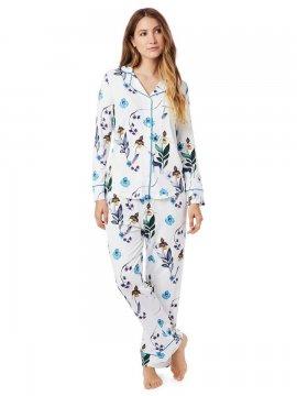 The Cat's Pajamas Women's Deerly Pima Knit Classic Pajama Set