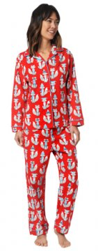 The Cat's Pajamas Women's Red Foxy Flannel Classic Pajama Set