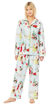 The Cat's Pajamas Women's Glam For The Holidays Classic Flannel Pajama Set