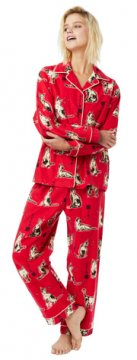The Cat's Pajamas Women's Haiku Kitty Classic Flannel Pajama Set in Red