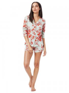 The Cat's Pajamas Women's Ivy Pima Knit Long Sleeve Short Set