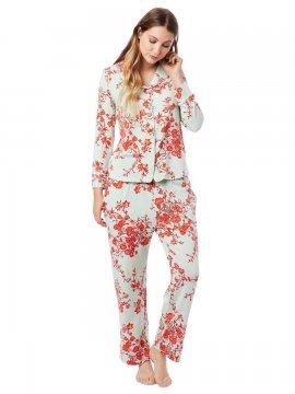 The Cat's Pajamas Women's Ivy Pima Knit Classic Pajama Set