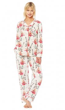 The Cat's Pajamas Women's La Fleur Eiffel Pima Knit Pajama Set