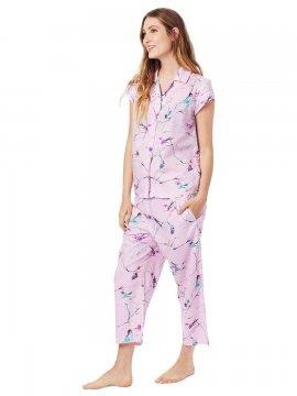 The Cat's Pajamas Women's Meadowlark Luxe Pima Capri Pajama Set