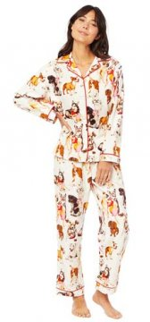 The Cat's Pajamas Women's Party Pups Classic Flannel Pajama Set