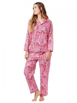 The Cat's Pajamas Women's Pretty in Paisley Luxe Pima Classic Pajama Set in Pink