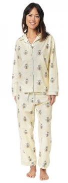 The Cat's Pajamas Women's Queen Bee Flannel Classic Pajama Set in Honey