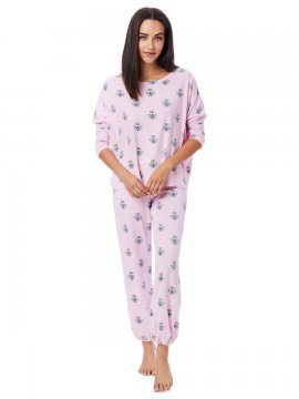 The Cat's Pajamas Women's Queen Bee Pima Knit Pullover Lounge Set in Pink