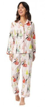 The Cat's Pajamas Women's Reindeer Games Flannel Classic Pajama Set in Pink