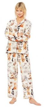 The Cat's Pajamas Women's Saucy Cats Classic Flannel Pajama Set