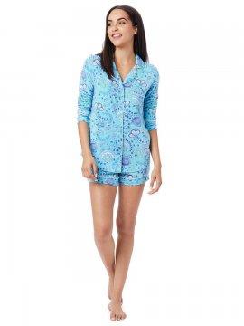 The Cat's Pajamas Women's Stella Pima Knit Long Sleeve Short Set