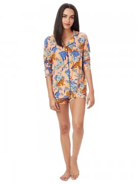 The Cat's Pajamas Women's Tigress Pima Knit Long Sleeve Short Set