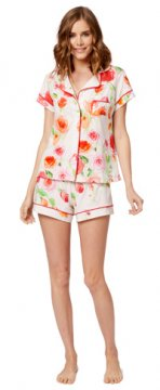 The Cat's Pajamas Women's Tossed Roses Knit Shorts Set