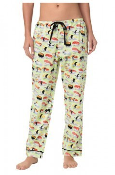 The Cat's Pajamas Women's Green Wasabi Sushi Poplin Cotton Pajama Pant