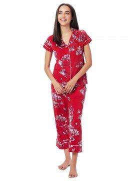 The Cat's Pajamas Women's Willow Cerise Pima Knit Capri Pajama Set