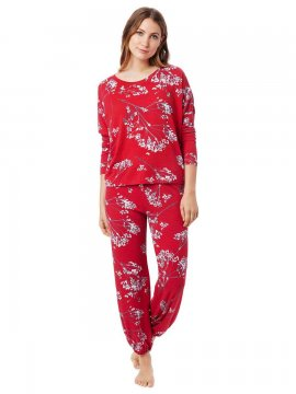 The Cat's Pajamas Women's Willow Cerise Pima Knit Pullover Lounge Set
