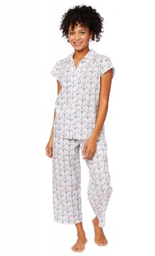 The Cat's Pajamas Women's Anchors Away Luxe Pima Capri Pajama Set