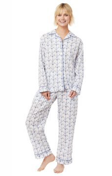 The Cat's Pajamas Women's Anchors Away Luxe Pima Classic Pajama Set