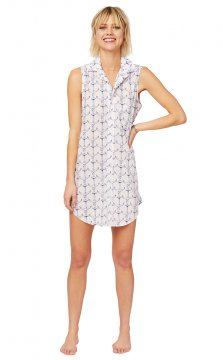 The Cat's Pajamas Women's Anchors Away Luxe Pima Sleeveless Nightshirt