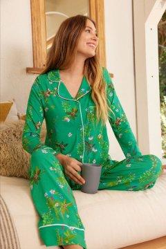 The Cat's Pajamas Women's Aurora's Garden Pima Knit Classic Pajama Set