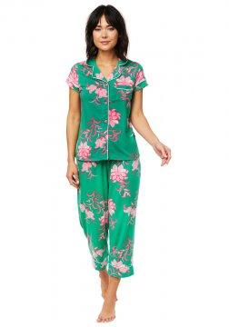 The Cat's Pajamas Women's Ava Pima Knit Capri Pajama Set in Green