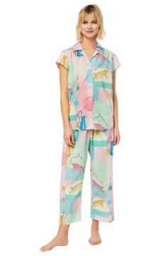 The Cat's Pajamas Women's Bengal Bangle Luxe Pima Capri Pajama Set