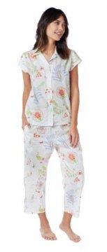 The Cat's Pajamas Women's Birds of Paradise Luxe Pima Cotton Capri Pajama Set