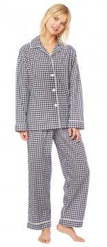 The Cat's Pajamas Women's Black Gingham Luxe Pima Classic Pajama Set