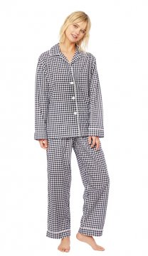 The Cat's Pajamas Women's Black Gingham Luxe Pima Classic Pajama Set