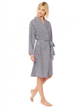 The Cat's Pajamas Women's Black Gingham Luxe Pima Kimono Robe