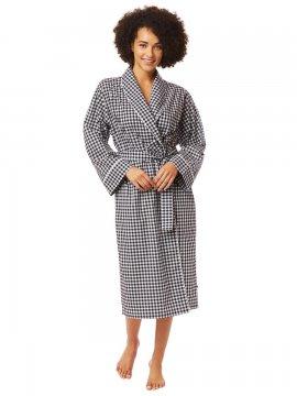 The Cat's Pajamas Women's Black Gingham Luxe Pima Shawl Collar Robe