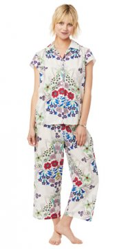 The Cat's Pajamas Women's Blossom Luxe Pima Capri Pajama Set