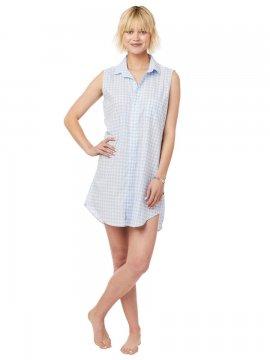 The Cat's Pajamas Women's Blue Gingham Luxe Pima Classic Sleeveless Nightshirt