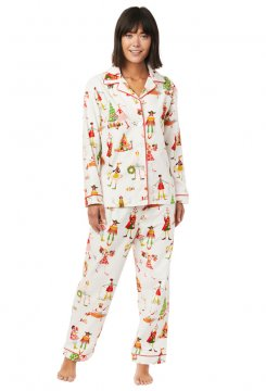 The Cat's Pajamas Women's Bohoho Flannel Classic Pajama Set