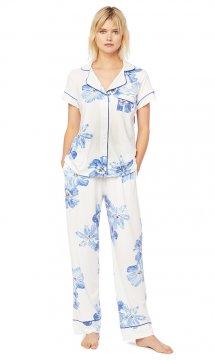 The Cat's Pajamas Women's Bora Bora Pima Knit Short Sleeve Pajama Set
