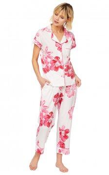 The Cat's Pajamas Women's Pink Bora Bora Pima Knit Capri Pajama Set