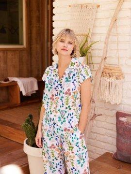 The Cat's Pajamas Women's Botanical Gardens Luxe Pima Capri Pajama Set