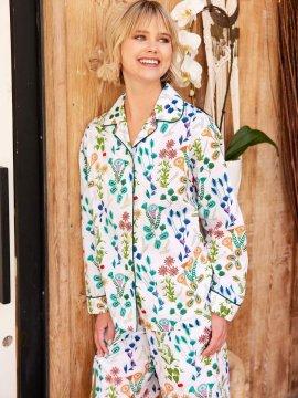The Cat's Pajamas Women's Botanical Gardens Luxe Pima Classic Pajama Set