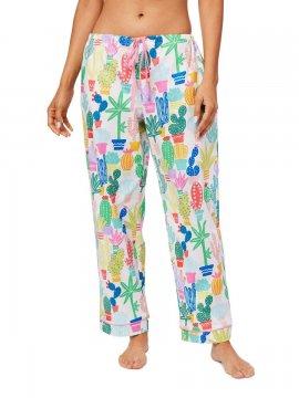 The Cat's Pajamas Women's Cactus Flower Cotton Poplin Pajama Pant